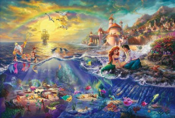 Christmas scene with the little mermaid ocean Oil Paintings