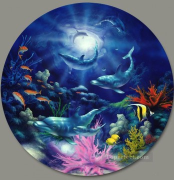 Fish Aquarium Painting - Evening Romance under sea
