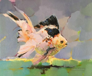 Fish Aquarium Painting - Goldfish in grey 387 fish