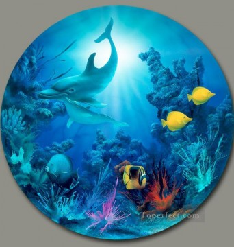 Fish Aquarium Painting - Morning Light under sea