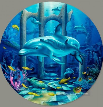 Fish Aquarium Painting - Mystical Dolphins under sea