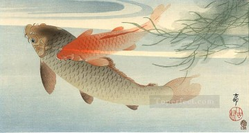 Fish Aquarium Painting - golden carp Ohara Koson fish