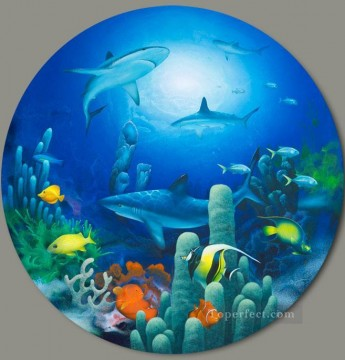 shark Lords of the Sea under sea Oil Paintings