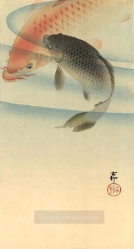 Animal Painting - two koi carps Ohara Koson fish