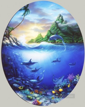 Fish Aquarium Painting - Dolphin Pardise under sea