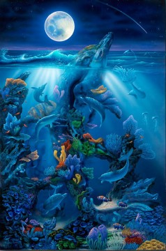 Fish Aquarium Painting - Dolphin Reef under sea