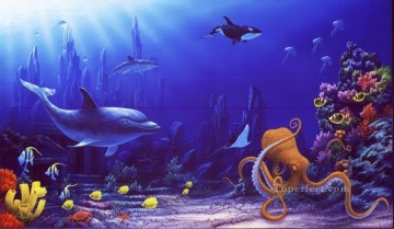 Fish Aquarium Painting - Echo the Dolphin under sea