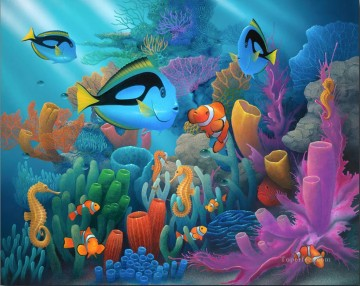 Fish Aquarium Painting - Friends of the Sea under sea