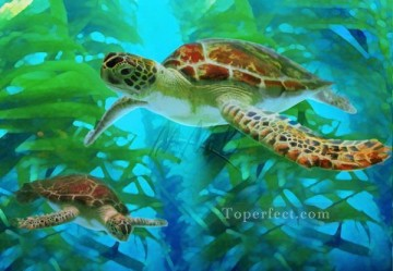 Fish Aquarium Painting - Green Sea Turtles