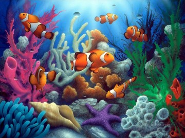Fish Aquarium Painting - Here Come the Clowns under sea