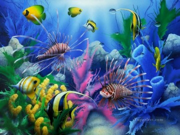 Fish Aquarium Painting - Lions of the Sea under sea