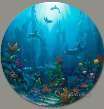 Fish Aquarium Painting - Maui Cathedrals under sea