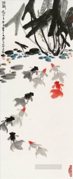 Wu zuoren happyness of pond 1984 fish Oil Paintings