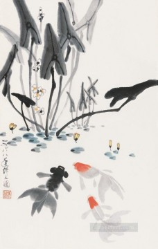Wu zuoren playing fish 1988 fish Oil Paintings