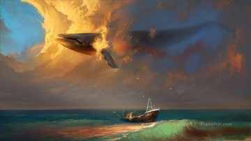 Fish Aquarium Painting - clouds ships whales seagulls in sky