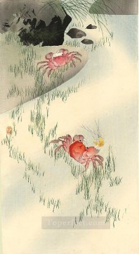 Fish Aquarium Painting - crabs Ohara Koson fish