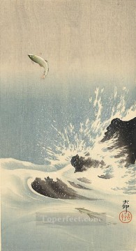 Fish Aquarium Painting - leaping salmon Ohara Koson fish