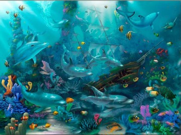 Fish Aquarium Painting - Dolphin Treasures under sea