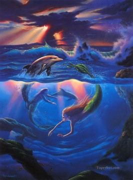 mermaid Painting - JW mermaids and dolphins ocean