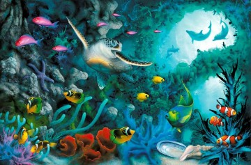 Fish Aquarium Painting - Jewels of the Sea under sea