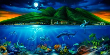 Fish Aquarium Painting - Lahaina Moon under sea