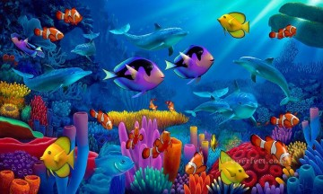 Fish Aquarium Painting - Ocean of Life under sea
