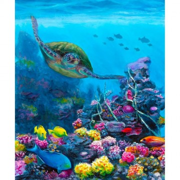 Fish Aquarium Painting - Secret Sanctuary Hawaiian Green Sea Turtle