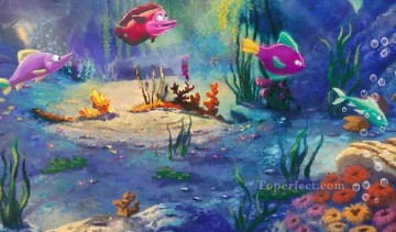 Fish Aquarium Painting - The Little Mermaid part3 Thomas Kinkade ocean