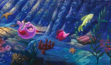 mermaid Painting - The Little Mermaid part4 Thomas Kinkade ocean