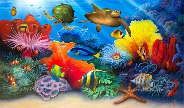 Fish Aquarium Painting - Turtle Reef under sea
