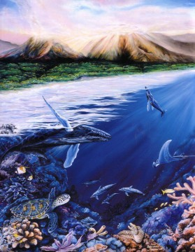 Fish Aquarium Painting - dolphin seabed