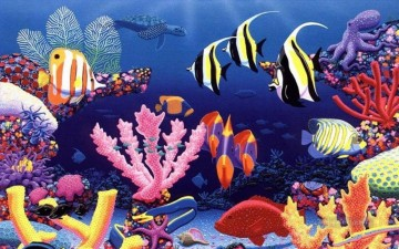 fish background kingdom other underwater Oil Paintings