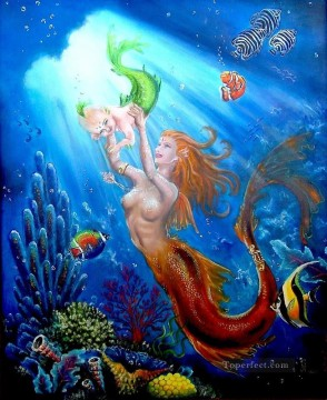 Fish Aquarium Painting - mermaid sealife