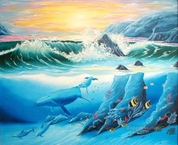 Fish Aquarium Painting - whale and dolphin friends randall brewer