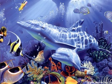 Fish Aquarium Painting - Beautiful Dolphin