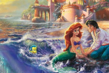 mermaid Painting - The Little Mermaid part Thomas Kinkade ocean