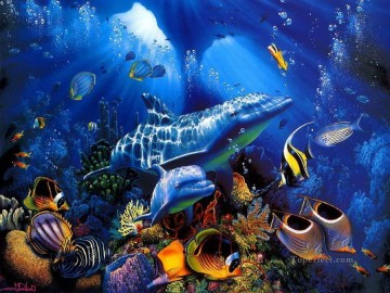 Seabed World Painting - dolphin blue underwater