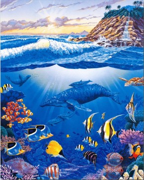 Fish Aquarium Painting - ocean life seabed