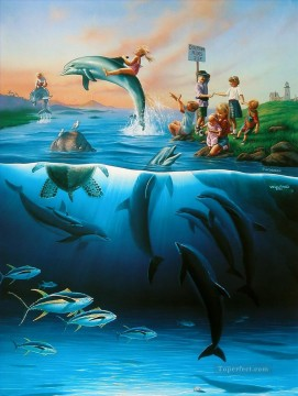 Fish Aquarium Painting - JW Dolphin Rides ocean