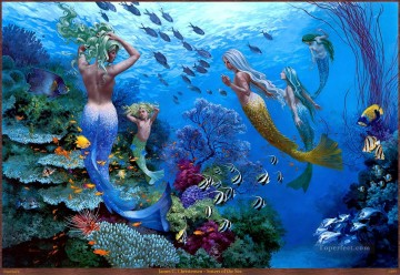 Fish Aquarium Painting - Sisters of the Sea ocean