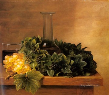 wine painting - A Still Life With Grapes And Wines On A Table Johan Laurentz Jensen flower