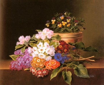Classical Flowers Painting - Apple Blossoms Lilac Violas Cornflowers Johan Laurentz Jensen flower