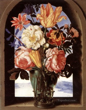 Flowers Painting - Bosschaert Ambrosius Flowers in Glass Bottle