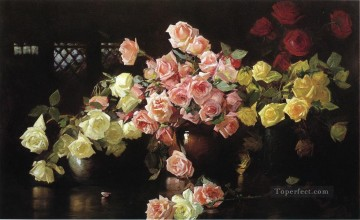 Classical Flowers Painting - Roses flower painter Joseph DeCamp