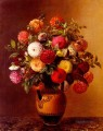Still Life Of Dahlias In A Vase Johan Laurentz Jensen flower