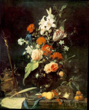 Classical Flowers Painting - Still Life With Crucifix And Skull Jan Davidsz de Heem flower