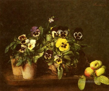 Classical Flowers Painting - Still Life With Pansies Henri Fantin Latour flower
