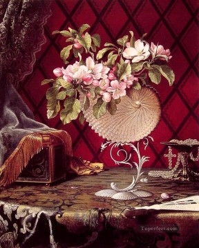 flower flowers floral Painting - Still Life with Apple Blossoms in a Nautilus Shell flower Martin Johnson Heade classical flowers