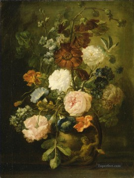Vase of Flowers 4 Jan van Huysum classical flowers Oil Paintings