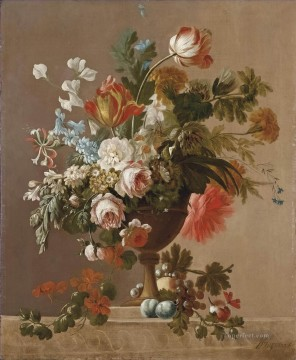 Vaso di fiori vase of flowers Jan van Huysum classical flowers Oil Paintings